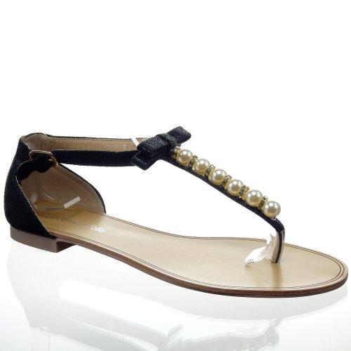 Kickly - Chaussure Mode Sandale Salomés cheville femmes Perle Talon bloc 1 CM - Intérieur synthétique - Noir/Or