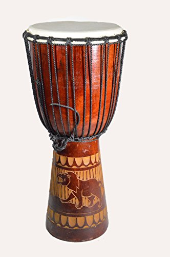 CLEARANCE 20'' DJEMBE DRUM BONGO HAND CARVED AFRICAN ABORIGINAL ART DESIGN by WorldBazzar