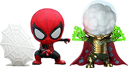 Amazon Com Hot Toys Spider Man Far From Home Spider Man And Mysterio Cosbaby Figure Toys Games