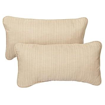 Textured Beige Corded 12 X 24 Inch Indoor/ Outdoor Lumbar Pillows With  Sunbrella Fabric (