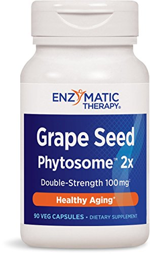 Grape Antioxidant - Enzymatic Therapy Grape Seed PhytosomeTM 2X Double-Strength 100 mg, 90 Vcaps