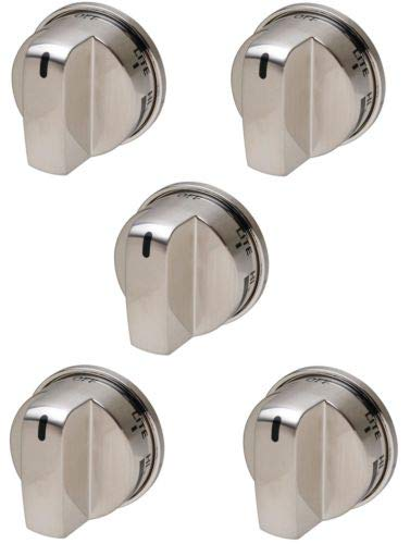 5-Pack Stainless Knob Replaces for LG EBZ37189611 WB03K10286 Stove Range Non Super Broil by Tian!!