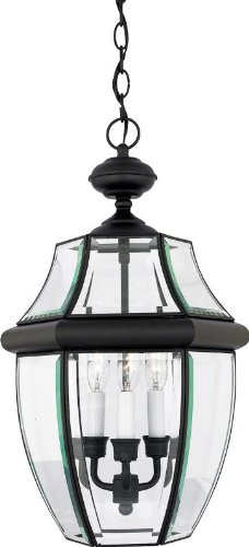 (Quoizel NY1179K Newbury Outdoor Pendant Lantern Ceiling Lighting, 3-Light, 180 Watts, Mystic Black (21