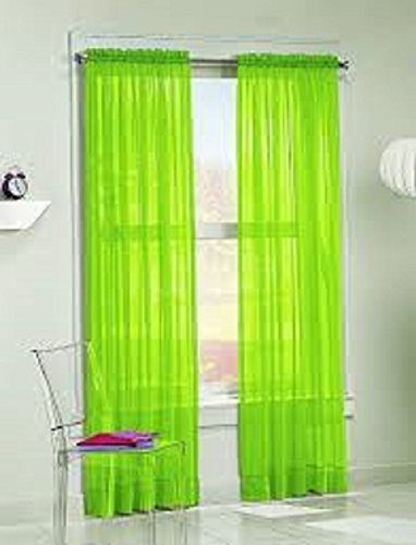 amazon com gorgeous home 1pc bright lime green solid soft voile