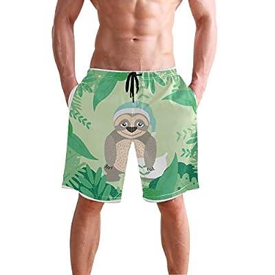 Cicily Men's Swim Trunks Sloth With Pijama Beach Board Shorts Swimming Short Pants Running Sports Surffing Shorts - Cicily