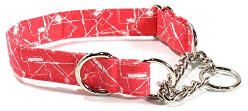 Ruff Roxy Pink Crush, Half Check Chain Collar, Designer Cotton Dog Collar, Adjustable Handmade Fabric (M)