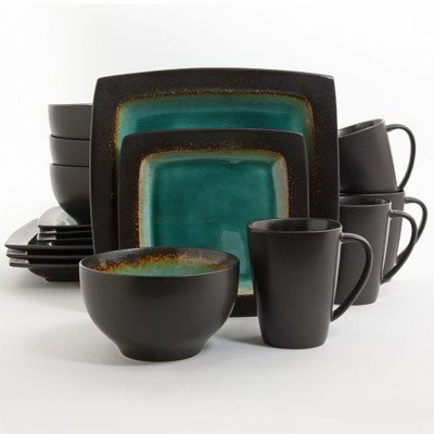 Gibson Hometrends Ocean Oasis Brown Blue Turquoise Stoneware 16 Piece Dinnerware Set Dinner Plate Salad Plate  sc 1 st  Amazon.com & Amazon.com | Gibson Hometrends Ocean Oasis Brown Blue Turquoise ...