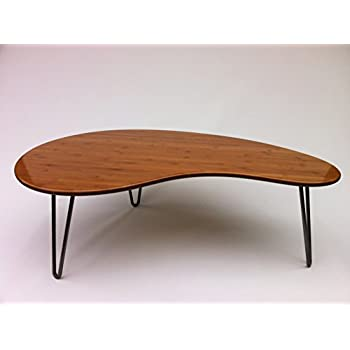 This Item Mid Century Modern Coffee Or Cocktail Table Kidney Bean Shaped Atomic Era Biomorphic Boomerang Design In Caramelized Bamboo