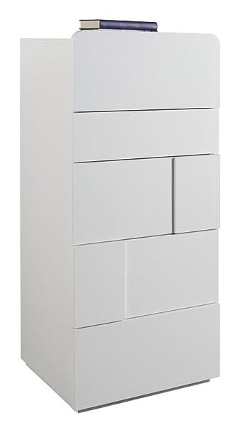 Cassettiera con cinque cassetti laccato bianco lucido: Amazon.it ...