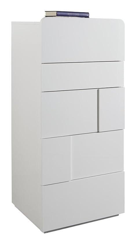 Composad Kommode mit fünf Schubladen und weiß lackiert glänzend ...