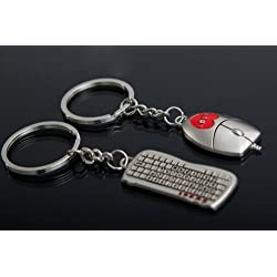 SweetSmile Stylish Metal Nickel Key Ring Key Chain Mouse And Keyboard Shape For Lovers Sweethearts Valentine's Day Gift
