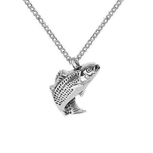 ZARABE Cremation Jewelry Fish Urn Ashes Necklace Memorial Keepsake Pendant