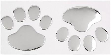 Golden Auto Emblem Decal Decoration MINGZE 4pcs 3D Chrome Dog Paw Footprint Car Sticker