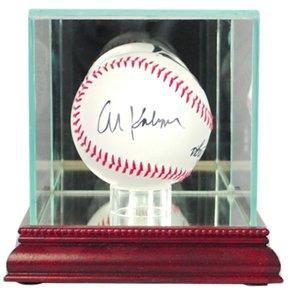 Single Baseball Glass Case (MLB Single Baseball Glass Display Case, Cherry)