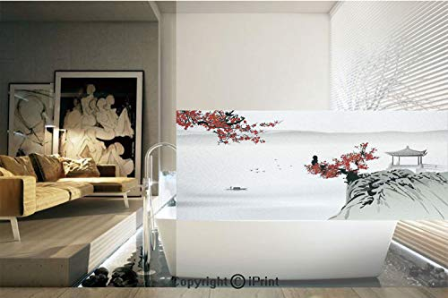 Decorative Privacy Window Film/Asian River Scenery with Cherry Blossoms and Boat Cultural Hints Mystical View Artsy Work/No-Glue Self Static Cling for Home Bedroom Bathroom Kitchen Office Decor Grey R