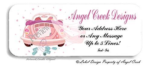 60 Personalized Return Address Labels - Wedding Labels Pink Beetle ()