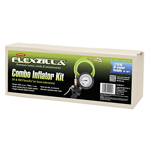 Flexzilla Combo Inflator Kit with 3 ft. and 15 ft. Quick Connect Hose, Lock-On Chuck (0-170 PSI) - AL2025FZ-2 by Flexzilla (Image #1)