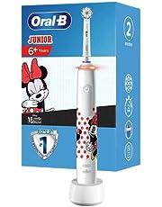 Oral-B Junior Minnie Mouse Elektrische tandenborstel voor kinderen vanaf 6 jaar, 360°-drukcontrole, zachte borstelharen, 2 poetsprogramma's incl. gevoelig, timer, wit