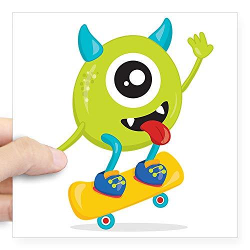 Square Sticker White 5 x 5 Inch One Eyed Monster on Skateboard ()