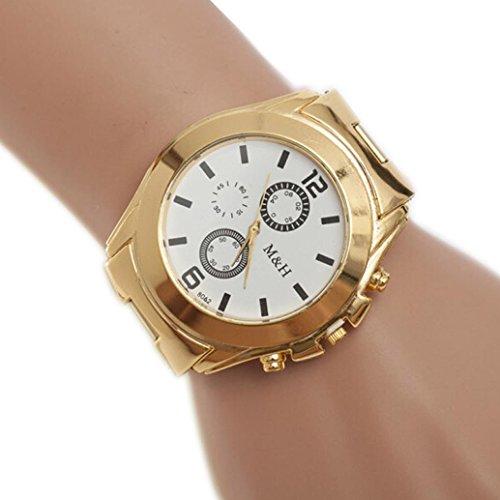 Creazy Stainless Steel Sport Quartz Wrist Hour Gold Bracelet Big Dial Watch (White) - 24 Diamond White Dial