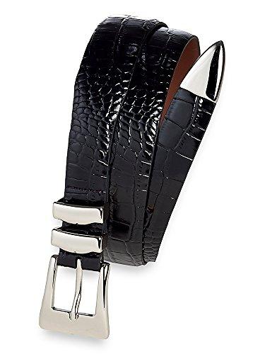 Paul Fredrick Men's Crocodile Embossed Belt with Metal Keeper and Tip Black (Crocodile Embossed Belt)