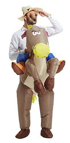 [Barfest Inflatable Western Cowboy Riding Horse Halloween Costume] (Cowboy Riding A Horse Costume)