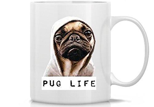 (Hot Ass Tees Funny Adult Unisex Pug Life Funny Thug Life T-Shirt (11 Ounce Mug, White Mug))