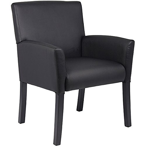 Boss Mid-back Black Leather Box Arm Chair by BOSS