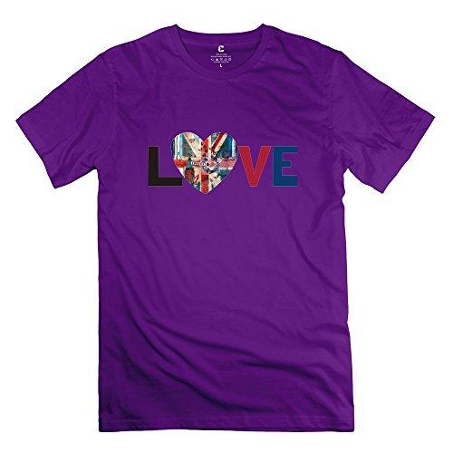 Onlyprint Men's Love London Flag T-Shirt Size XXL US Purple (Us London Flag T-shirts)