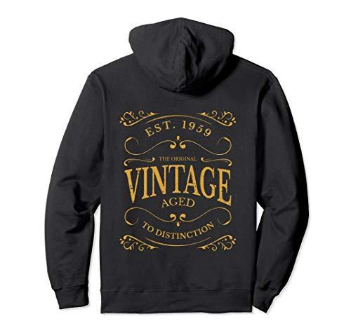 (Vintage 60th Birthday Hoodie Sweatshirt Whiskey Wine Label)