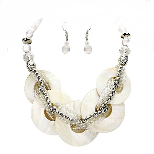 Chunky Statement White Abalone Shell Braid Stand Silver beads Necklace Earrings Set Jewelry