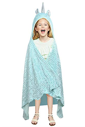 LUCK COLLECTION Unicorn Cozy Blanket Cloak for Adult and Kids Snuggle Sleeping Foil Stamping Feather Pattern (Blue)