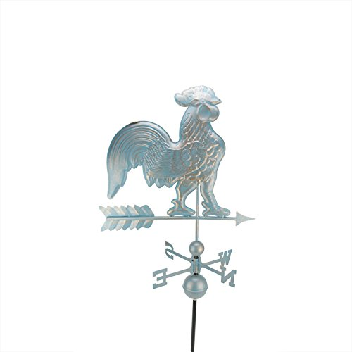 (DAK 3' Polished Weathered Copper Patina Rooster Outdoor Weathervanes Blue)