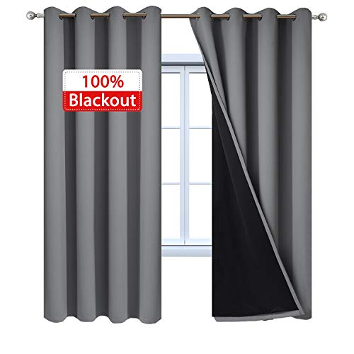Yakamok 100% Blackout Curtains 84 Inches Long, 2 Thick Layers Thermal Insulated Gray Curtain Panels, Full Light Blocking Drapes with Black Liner for Bedroom (52