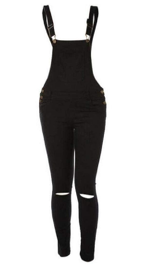 KLJR Women Stretchy Solid Casual Sport Girls-Bib Knee Ripped Holes Denim Overalls