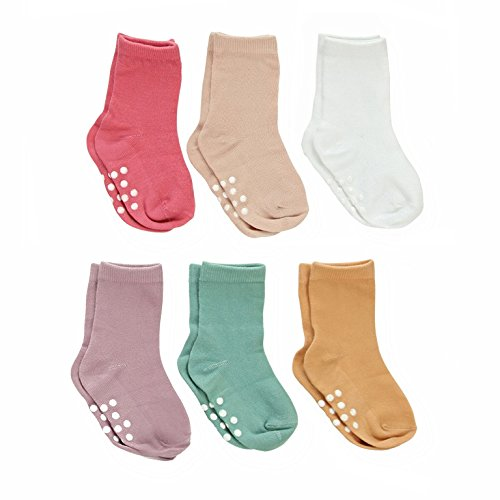 Silky Toes Non-Skid Infant Socks Multi Colored Baby Boy Girl Gift Set (12-18M, Spring Collection Girls (6 Pairs)) (Bamboo Baby Socks)