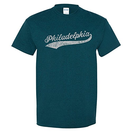 (UGP Campus Apparel Philadelphia Baseball City Script Basic Cotton T Shirt - Medium - Midnight)
