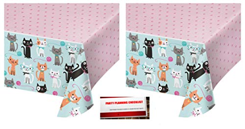 2 Pack - Kitty Cat Purr-FECT Party Plastic Table Cover 54 x 102 inches (Plus Party Planning Checklist by Mikes Super Store) by Kitty Cat Party