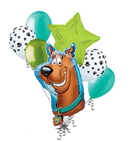 7 pc Scooby Doo Head Shape Balloon Bouquet Party Decoration Happy Birthday Dog