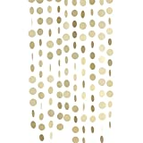 """Ling's moment Circle Dots Paper Garland ( 2.5"""" Dots, 9 Feet, Pack of 10 ) for Wedding, Bridal Showers, Birthday Party, Baby Shower, Event & Party Supplies - Champagne Gold Glitter"""