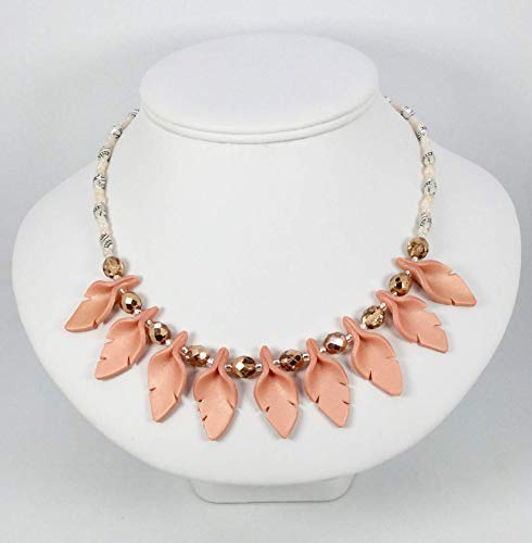 Peach Cut Leaf Necklace Handcrafted Polymer Clay Shiny Peach Faceted Glass and Silver Metal Beads For Dressy or Casual Wear