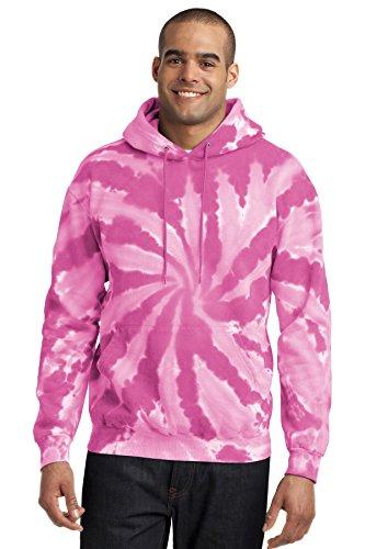 Port & Company Men's Essential Tie Dye Pullover Hooded Sweatshirt XL Pink
