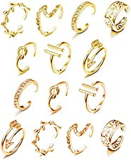 Hanpabum 14pcs Open Toe Rings Flower Hollow CZ Band Vintage Toe Ring Set Adjustable Women Summer Beach Jewelry