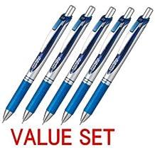 Pentel New EnerGel Deluxe RTX Retractable Liquid Gel Pen - Ultra Micro Point 0.3mm - Fine Line - Needle Tip - Blue Ink - Total 25 Pens Set