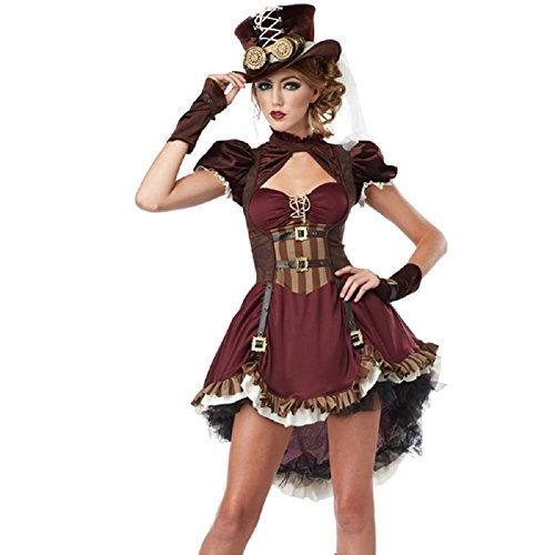 [Horries Women's Charming Pirate Captain Costume] (Sexy Haloween Costumes)