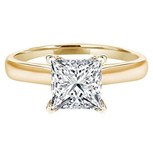 (1.0 ct Brilliant Princess Cut Solitaire Highest Quality Moissanite Ideal VVS1 D 4-Prong Engagement Wedding Bridal Promise Anniversary Ring in Solid Real 14k Yellow Gold for Women, Size 7.25)