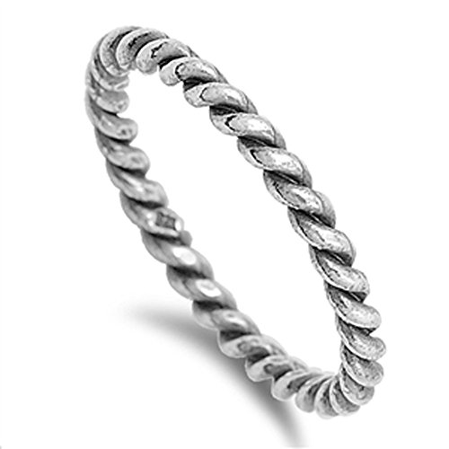 Sterling Silver Oxidized Rope Chain Design Eternity Band 925 New Ring Size 9