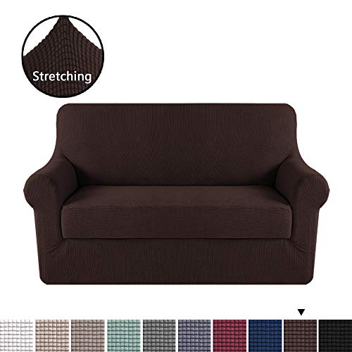 (H.VERSAILTEX 2 Separate Pieces Stretching Skid Resistance Slipcover/Furniture Cover for Loveseat, Thick and Durable Lycra Jacquard Sofa Cover, Easy to Put on, Brown (2 Seater))