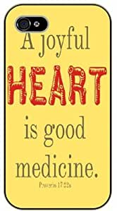 iPhone 5 / 5s A joyful heart is good medicine. Proverbs 17:22, black plastic case / Inspirational and motivational life quotes / SURELOCK AUTHENTIC