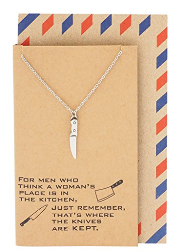 Quan Jewelry Knife Pendant Necklace, Gifts for Mom and Chefs, Kitchen Tools Charm, Women's Presents, comes with Empowering Women Quote Card